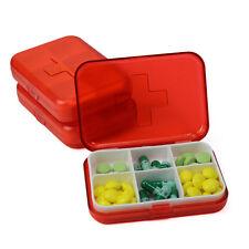 Tamaño De Bolsillo Pastillero Medicamento Tabletas Caja de almacenamiento 6 compartimentos Paquete Pequeño