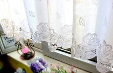 Elegant White Rose Embroidery Cutwork Café Curtain Trim 160 x 58cm Drop