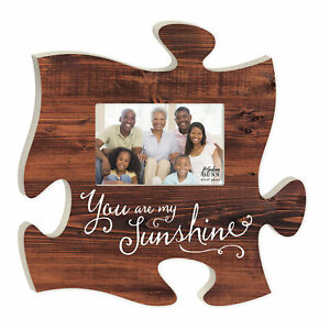 You Are My Sunshine Brown Distressed Wood Look 4 x 6 Wood Puzzle Photo Frame
