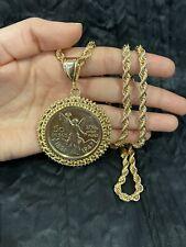 YELLOW GOLD PLATED Mesh Design Mexican Coin CENTENARIO & Rope Chain ORO LAMINADO
