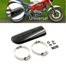 Universal Motorcycle Exhaust Pipe Guard Heat Shield Real Carbon Fiber Cover Trim