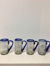4 Mexican Hand-blown Glass Beer Mugs Blue Rim