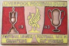 LIVERPOOL Vintage 1983 DOUBLE WINNERS League & Milk cup badge Gilt 44mm x 30mm