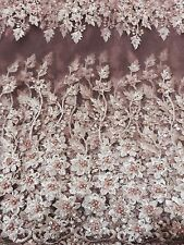 Pink Beaded Net/lace Fabric