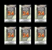 TURBO YEAST 6 PACK 24 HOUR TURBO YEAST ALCOTEC 20% ALCOHOL FOR THE WHISKEY STILL