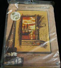 PARAGON NEEDLECRAFT CREATIVE CREWEL STITCHERY KIT SUNSET PICTURE SHRIMP BOAT NEW