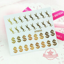 Self Adhesive Metal Gold Money Sign Nail Art Stickers Transfer Decals