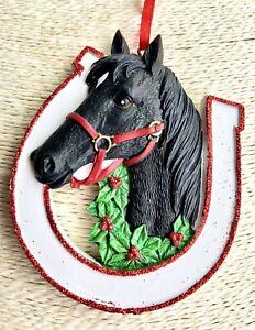 Personalised Black Horse Christmas Tree Decoration Bauble Xmas 2020
