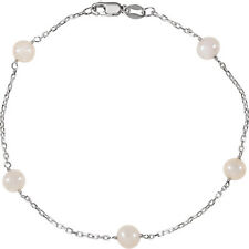 Sterling Silver Cultured White Pearl Station Bracelet 7.5""