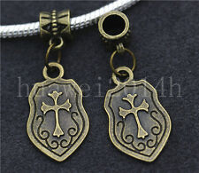 6/30/100pcs Antique Bronze Cross Shield Bulk Lots Dangle European Charm Bracelet