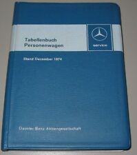 Tabellenbuch Mercedes PKW R 107 SL 280 350 450 SLC W 114 /8 116 SEL SE 1974!