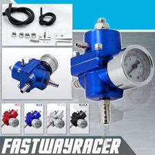 Universal Blue Adjustable Fuel Pressure Regulator Gauge 0-140 PSI EF EG EK D16
