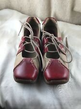 Dr Martens 8B23 38 5 6 Tan /Red Leather Criss Cross Mary Janes Shoes