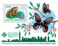 Afrique centrale rep 2016 neuf sans charnière philataipei 2016 1v s/s grenouilles butterflies stamps