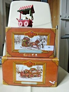 """Lot 1 LUVILLE """"Coach with luggage"""" + ''Beer Cart'' + book store 2014 (not Lemax)"""
