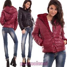 Piumino donna giubbotto giacca cappuccio eco pelliccia invernale caldo CJ-2401