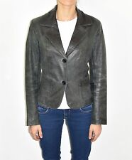 Blue Leather REBEL Fitted Button Hips Length Blazer Women's Coat Jacket Size M
