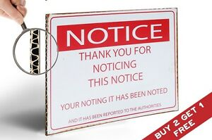 NOTICE Thank You for Noticing RETRO POSTER VINTAGE SIGN Spoof Decor A4 210x300mm
