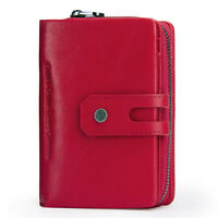 Women Genuine Leather Wallet Short Bifold Card Holder RFID Blocking Pocket Purse