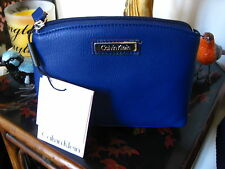 Calvin Klein Navy Blue Ink Leather Cosmetic Makeup Bag Style H3JRA2DD $78.NWT