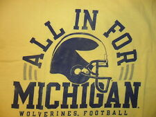 ALL IN FOR MICHIGAN TSHIRT Wolverine Football University UM Yellow ADULT XL