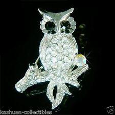 OWL~ made with Swarovski Crystal Rhinestone Hawk Night Bird Teacher Pin Brooch