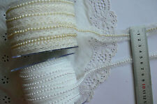 LACE with PEARL CENTRE 2 Metre Lengths - Ivory 20mm or White 11mm - Choice ARD5