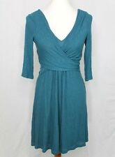Anthropologie Amadi Womens S Fara Surplice Wrap Dress Turquoise Green Stretch