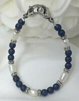Navy Blue White Pearl Silver Medical ID Alert Replacement Bracelet! (MA090)
