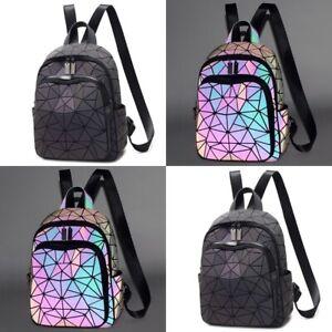 NEW Luminous Backpack Geometric Holographic Reflective EDM Back Bag Schoolbag