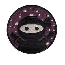 "CUTE NINJA IRON ON PATCH 3"" Round Embroidered Applique Martial Arts Black Purple"
