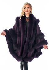 Double Row Real Fox Fur Trimmed Cashmere Cape Women Purple Plum Empress Style
