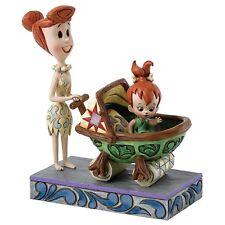 Hanna Barbera Jim Shore Flintstones Wilma w/ Pebbles in Baby Car Bedrock Buggy