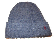 Polo Ralph Lauren Mens Blue Patchwork Knit Wool Alpaca Blend Beanie Hat Cap