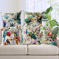 EG_ Square Soft Cushion Cover Bird Print Linen Pillow Case Bed Sofa Home Decorat
