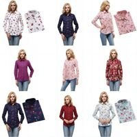 Women Long Sleeve V-neck Loose Tops T Shirt OL Ladies Plain Casual Button Blouse