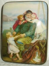 "Russian Lacquer box Fedoskino "" Returning of Fisherman "" miniature Hand Painted"