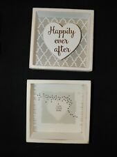 Lot of 2 New Small White Wooden Rustic Love Marriage Home Decor Signs