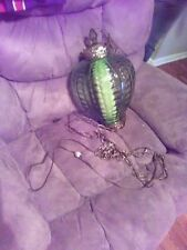 antique leafy green swag lamp