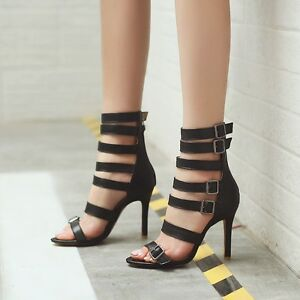 Womens Gladiator High Heels Buckle Strappy Party Sandals Fashion Open Toe Shoes