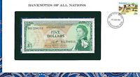 Banknotes of All Nations East Caribbean 5 Dollars 1965 UNC P-14h sign 10  D11