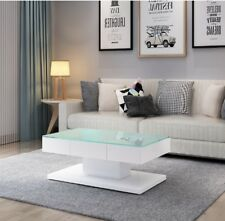 White High Gloss Coffee Table With 2 Drawers Tempered Glass Top Living Room