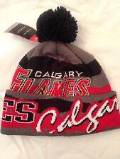Calgary Flames NEW Adult Winter Knit Hat . NHL Hockey Reebok Warm Cap Pom Cuffed