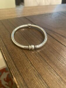 Brighton Charm Bead Slide Magnetic Hinge Silver Bangle Bracelet *