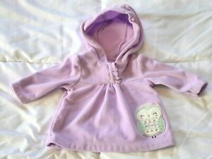 Child Of Mine Carter's Baby Girl Size 0-3 0-3M Purple Owl Pull-Over Hood Jacket