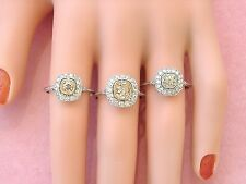 ART DECO 1.32ct CUSHION OLD MINE CHAMPAGNE DIAMOND HALO PLATINUM ENGAGEMENT RING