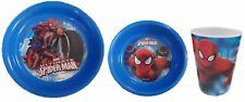Spiderman  Melamine Mealtime 3 Piece Set Childrens Dinner Sets Bowl Plate Cup