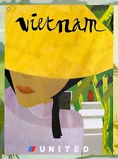Vietnam Vietnamese Asia Asian Vintage Airlines Travel Advertisement Art Poster