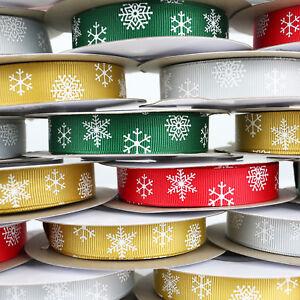 10m Reel Grosgrain Christmas Snowflake Ribbon - 10mm & 16mm