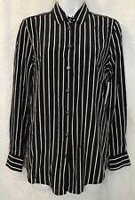 Equipment Blouse Black White Stripe L Sleeve Silk Nwt $278 Size Xs